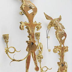 Pair of Italian Carved and Gilt Wood Eagle Candle Sconces, 20th Century