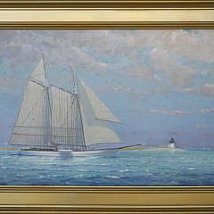 "131-3520 William Lowe Oil ""Brant Point Light Schooner A_MG_9659"
