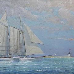 "William Lowe Oil on Canvas ""Brant Point Lighthouse Schooner"""