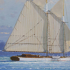 """William Lowe Oil on Canvas """"Nantucket Schooner Passing Brant Point Lighthouse"""""""