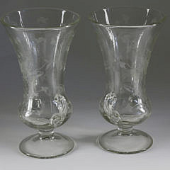 Pair of Etched Glass Flower Vases, late 19th Century