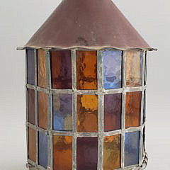 Antique Arts and Crafts Copper and Leaded Glass Hanging Lantern
