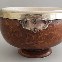 Antique Edwardian English Oak Fruit Bowl