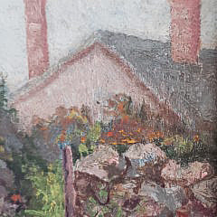 """William Partridge Oil on Board, """"New England Cottages"""""""