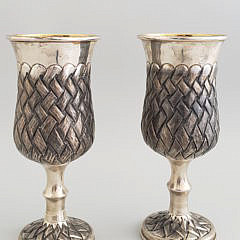 Pair of Russian 875 Silver Wedding Goblets
