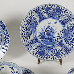 Five Chinese Blue and White Porcelain Teacups, Saucers and Two Plates