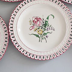 Set Keller & Guerin Luneville France Reticulated Plates, 19th Century