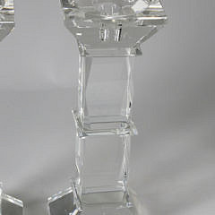 Pair of Crystal Column Candlesticks by Shannon