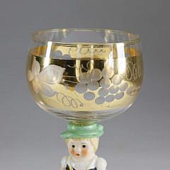 Set of 6 German Rhine Wine Figural Glasses, 20th Century