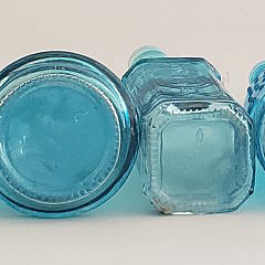 Collection of 12 Antique Bottles, Blue and Clear Glass