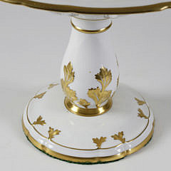 Portuguese Gilt Decorated Three-Tier Porcelain Pastry Tazza, 20th Century