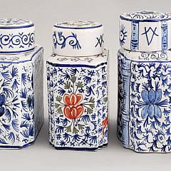 Five French Faience Pottery Tea Caddies, 19th Century