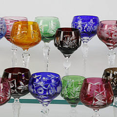 Assorted 30 Bohemian Czech Overlay Cut Crystal Wine Goblets, 20th Century