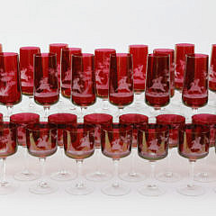 39 Bohemian Ruby Etched Glass Equestrian Wines and Flutes, 20th Century