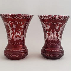 Pair of Bohemian Ruby Engraved Glass Vases