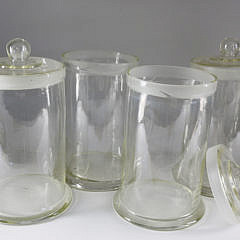 4 Blown Clear Glass Storage Canisters, 20th Century