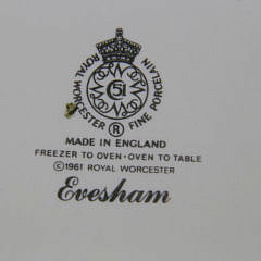 "8 Royal Worcester Fine Porcelain Casseroles in the ""Evesham"" Pattern"