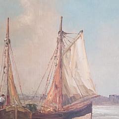 "A. Bodson Oil on Board Painting, ""European Harbor Scene"""