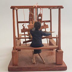 Vintage American Folk Art Miniature Vignette of a Woman Working a Loom