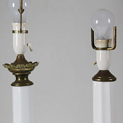 Two Paneled Opaline White Glass Column Lamps, 19th Century