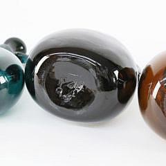 Six Hand-Blown Colored Glass Cruets, 18th – 19th Century