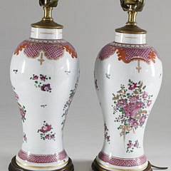 Pair of 18th Century Chinese Export Porcelain Vases Mounted as Lamps