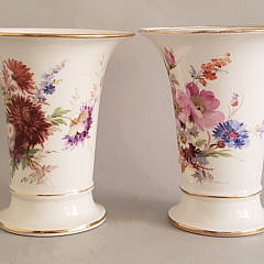 Pair of Meissen Floral Decorated Beaker Vases