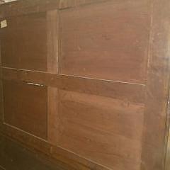 Vintage English Petite Mahogany Glazed Door Breakfront