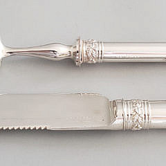 English Engraved Silver Plated Boxed Carving Set, 19th Century