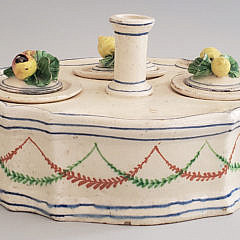 French Faience Soft Paste Ceramic Inkwell, early 19th Century