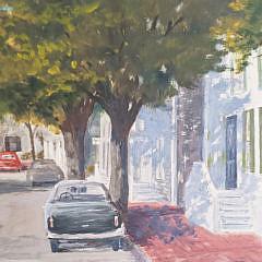 "James L. Dodwell Oil on Artist's Board, ""Union Street – Nantucket"""
