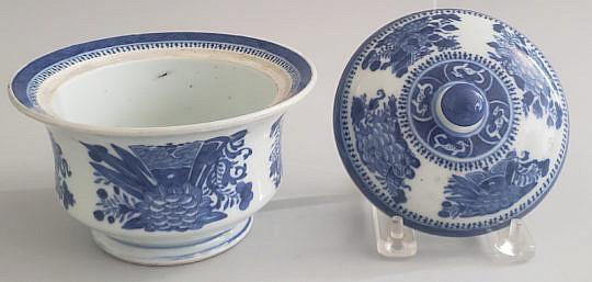 10-3865 Blue White Sugar Bowl A
