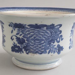 19th Century Fitzhugh Blue and White Covered Sugar Bowl