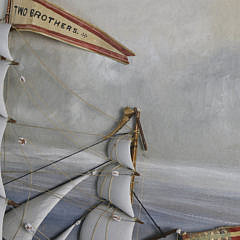 """Monumental American Shadowbox of the Nantucket Whaleship """"Two Brothers"""", 19th Century"""