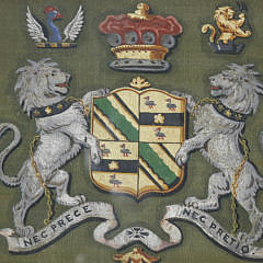 English Watercolor on Textile Coat-of-Arms, 19th Century