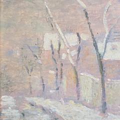 """Jose Fabri-Canti Oil on Board, """"Winter Village Landscape"""""""