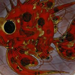 Set of Six Vence Enamel Painted Sea Creature Plates