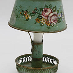 French Tole Candlestick Boudoir Lamp, 19th Century