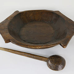 Large Carved Wood Serving Bowl and Spoon