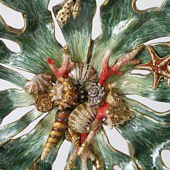 Jay Strongwater Enamel Sea Crustacean  Bowl on Easel