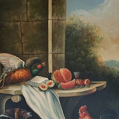 """G. Seyal Continental Style Oil on Canvas """"Tabletop Scavengers"""" Still Life Painting"""