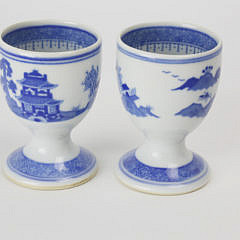 Two Finely Decorated Canton Egg Cups, mid 19th Century