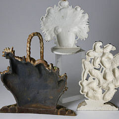Collection of 3 Flower Basket Cast Iron Doorstops