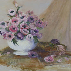 """Pastel """"Poppies in a Ceramic Bowl"""" Floral Still Life, 20th Century"""