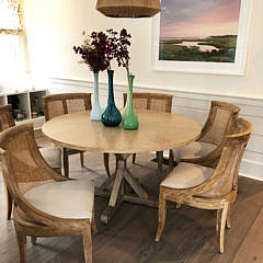 15-3887 Oak Round Dining Table and Chairs A IMG_6538