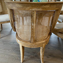 Contemporary Round Oak Pedestal Dining Table and Six Chairs