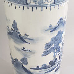 Canton Style Blue and White Porcelain Umbrella Stand