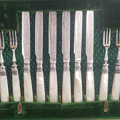English Mother of Pearl and Silver Plated Knife and Fork Set, 19th Century