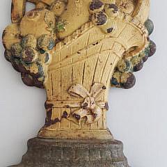 Antique Judd Cast Iron Fruit Basket Doorstop, #1252