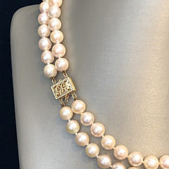 White Fresh Water Pearl Double Strand Necklace, 14k Yellow Gold Clasp